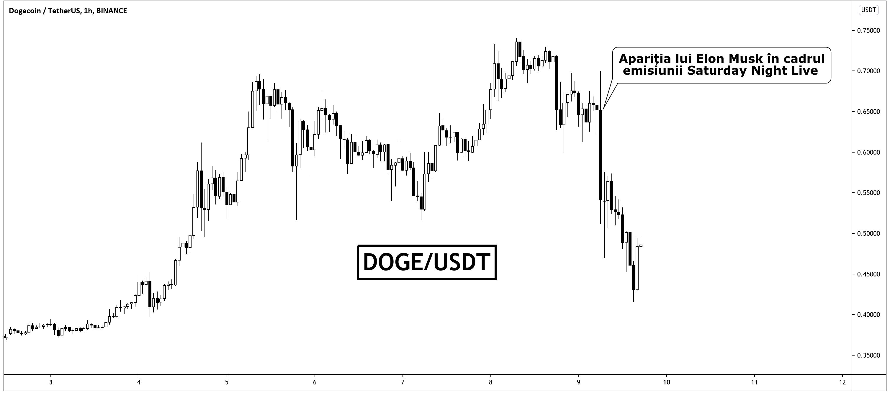 Dogecoin scade 40%. Elon Musk dezamăgește așteptările investitorilor pentru SNL