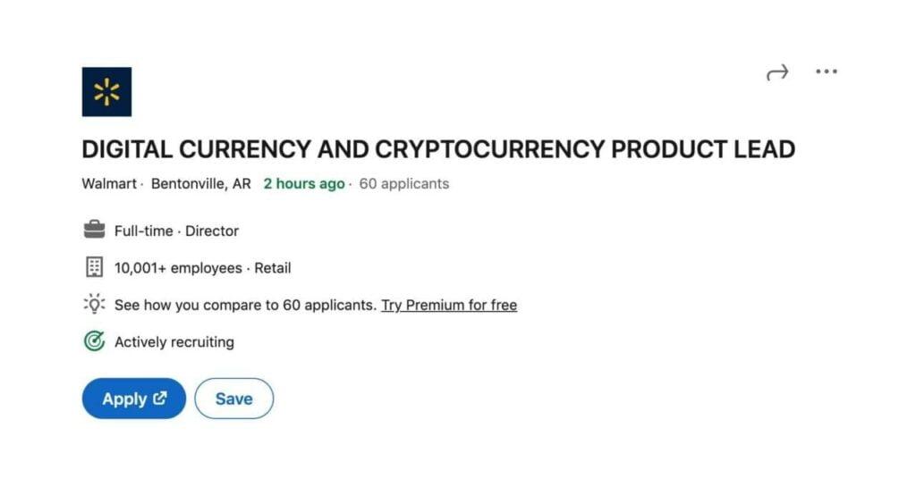 Walmart angajează experți în crypto pentru a dezvolta serviciile pe valute digitale