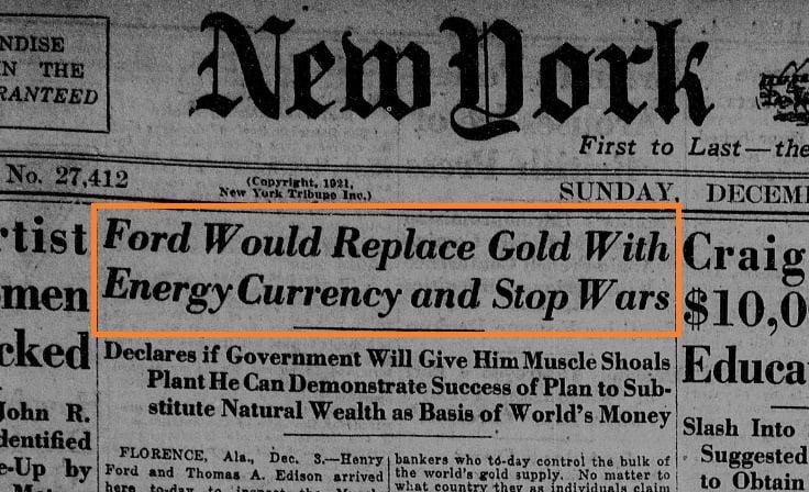 """În urmă cu 100 de ani, Henry Ford a propus """"moneda bazată pe energie"""", care să înlocuiască aurul"""