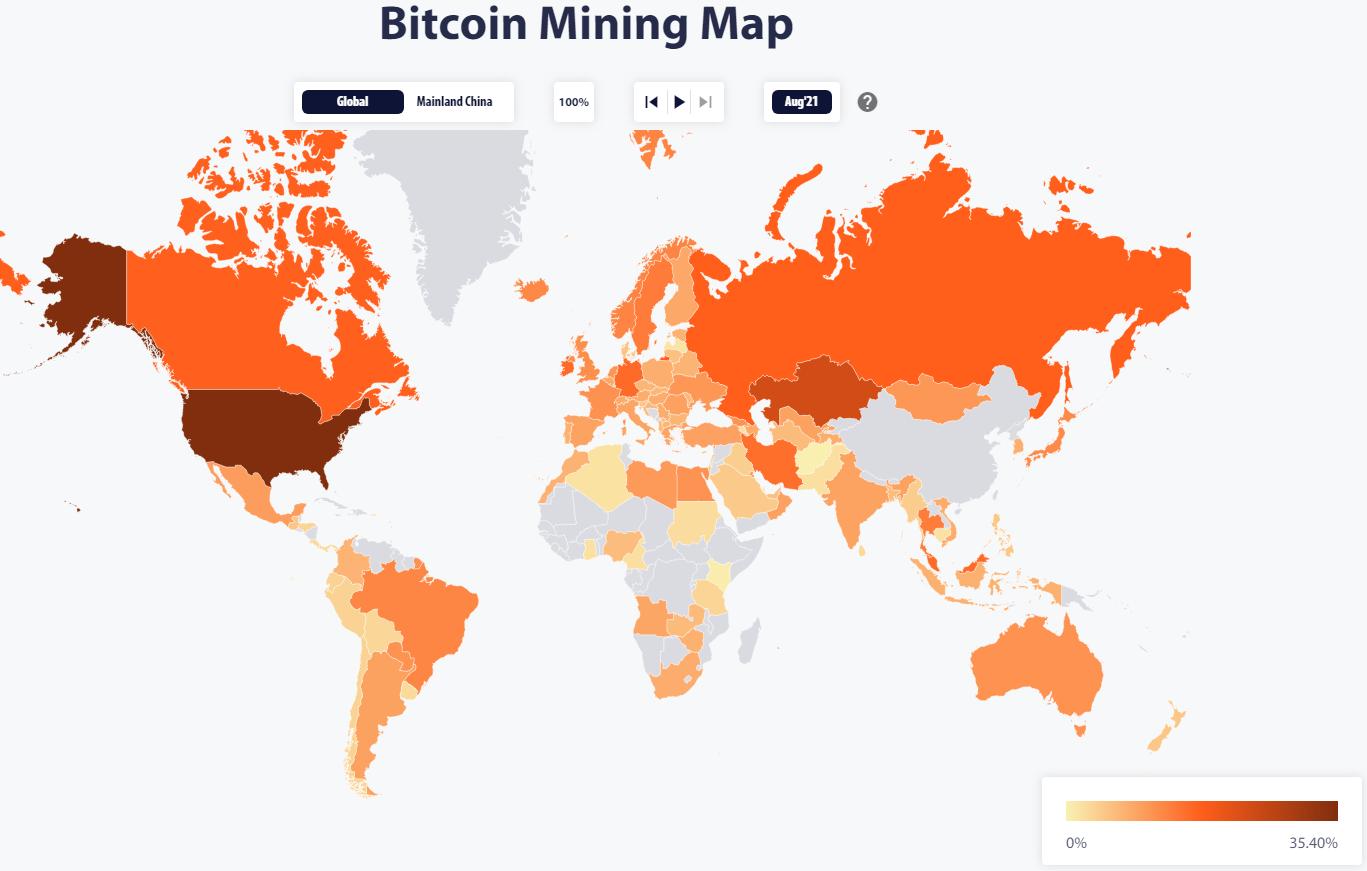 Bitcoin: America domină rata de hash după interdicția Chinei